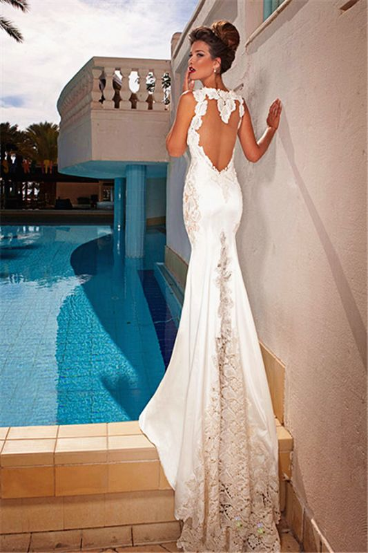 Spaghetti Straps Mermaid Lace Wedding Dresses Open Back Sweep Train Bridal Gowns