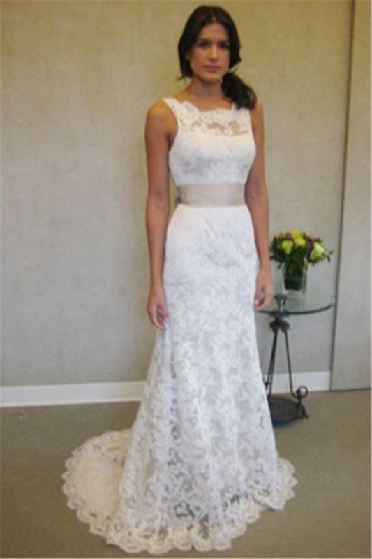Lace Wedding Dresses Cheap Online | Stunning Close-fitting Simple Wedding Dress for Beach BA3872