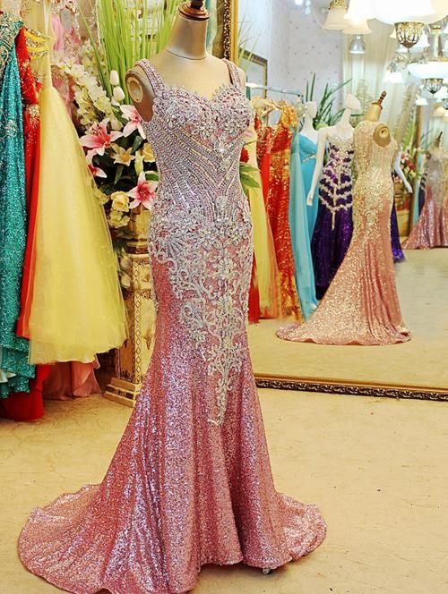 Gorgeous Prom Dresses Straps Crystals Beadings Sheath Sweep Train Sequined Sheer Back Evening Gowns