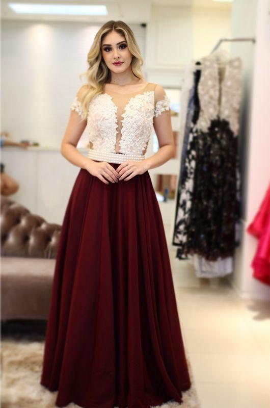 A-Line Vintage Short-Sleeves Pearls Scoop Prom Dresses