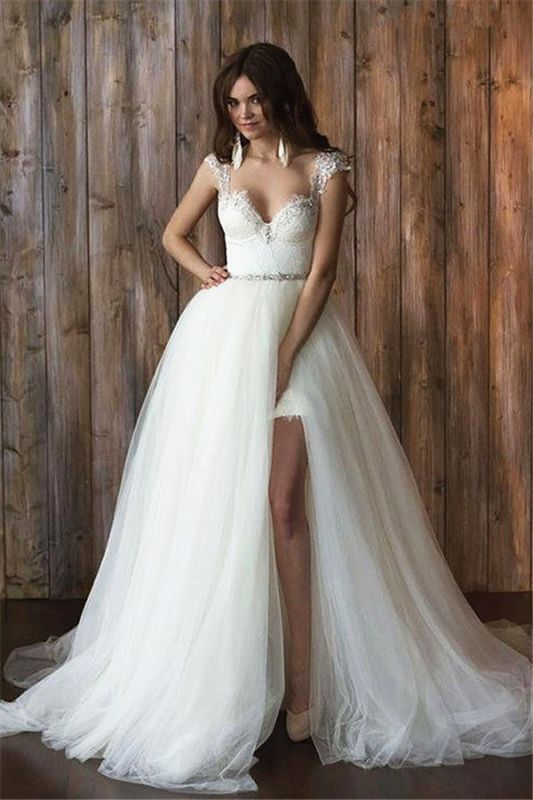 Cap Sleeve Sexy V-neck Crystals Detachable Tulle Overskirt Wedding Dresses Cheap