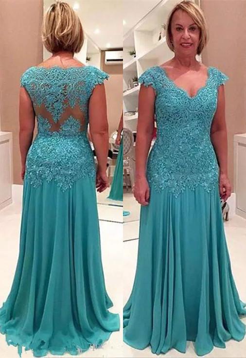 Elegant Lace Appliques Cap Sleeve A-line Chiffon Mother Of Bride Dress