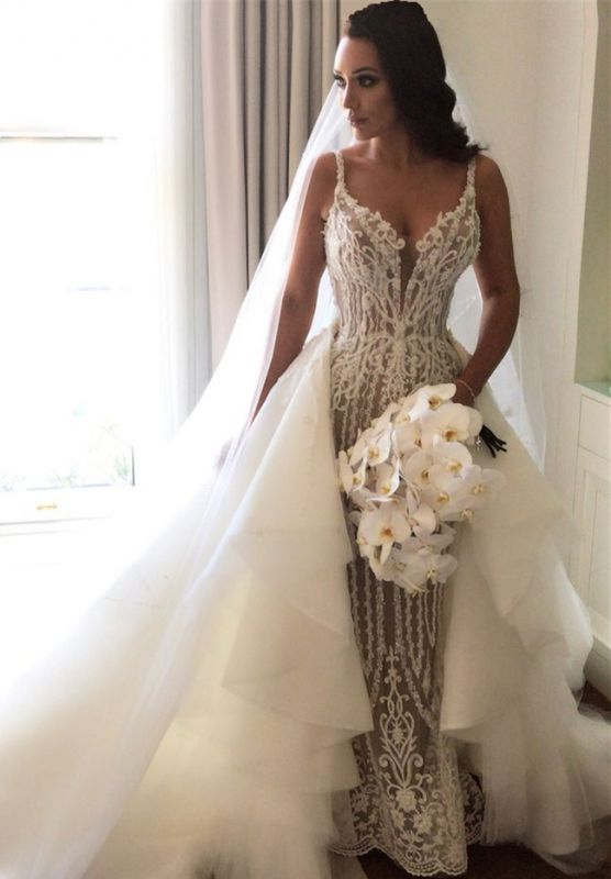 Gorgeous Lace Mermaid Wedding Dresses Cheap With Detachable Train Straps Sexy Sleeveless Bride Dress