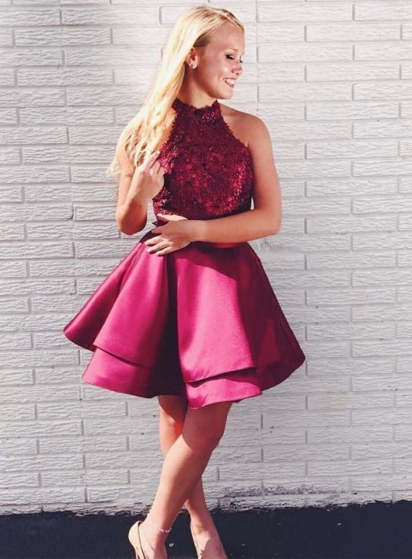 Newest Lace Beads Halter Homecoming Dress | Short Ruffled Party Gown