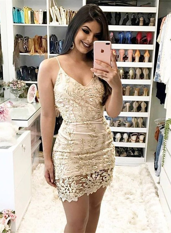 d434ad782694 Newest Lace Spaghetti Strap Bodycon Homecoming Dress | Short Party Gown |  Newarrivaldress.com