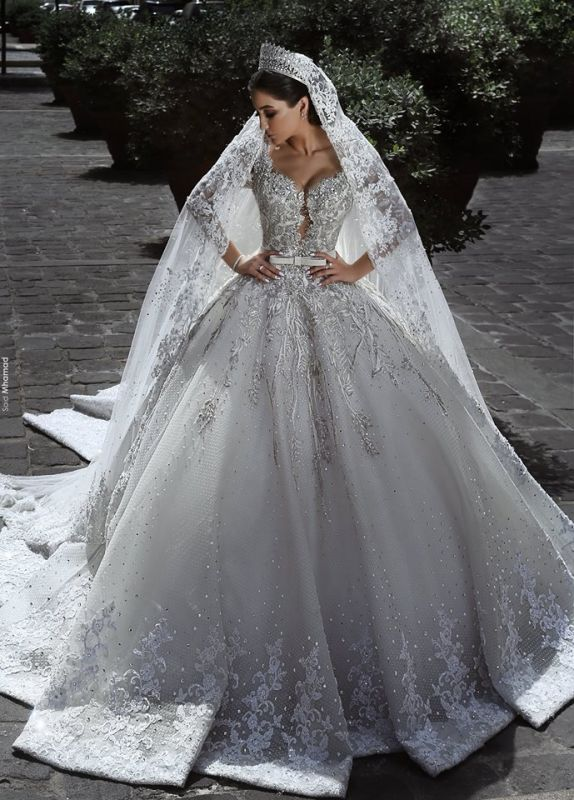 Glamorous Long Sleeves Tulle Appliques Wedding Dresses 2018 Crystal Bridal Ball Gowns with Bow BA7970