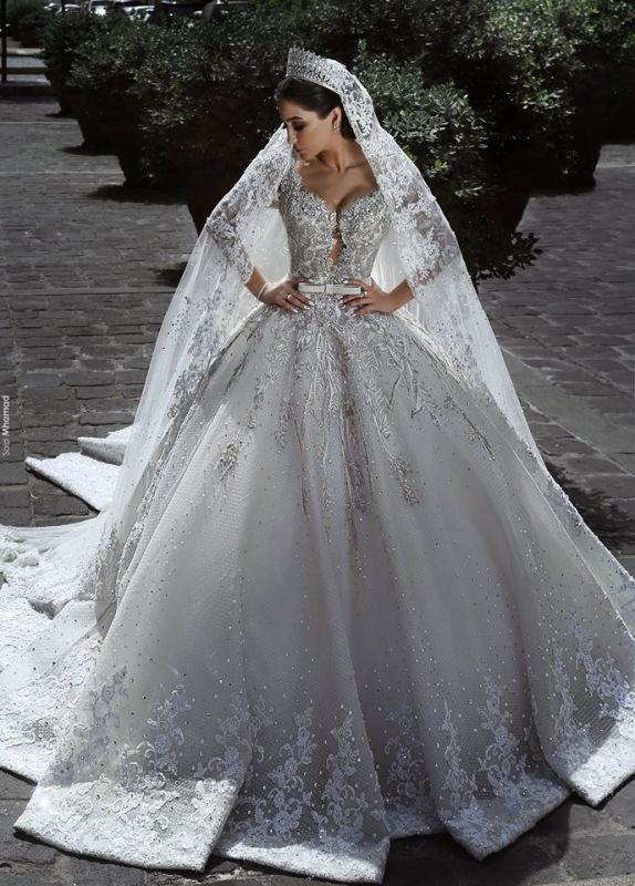Glamour Manches Longues Tulle Appliques Robes De Mariée 2018 Robes De Bal De Mariage De Cristal avec Arc BA7970