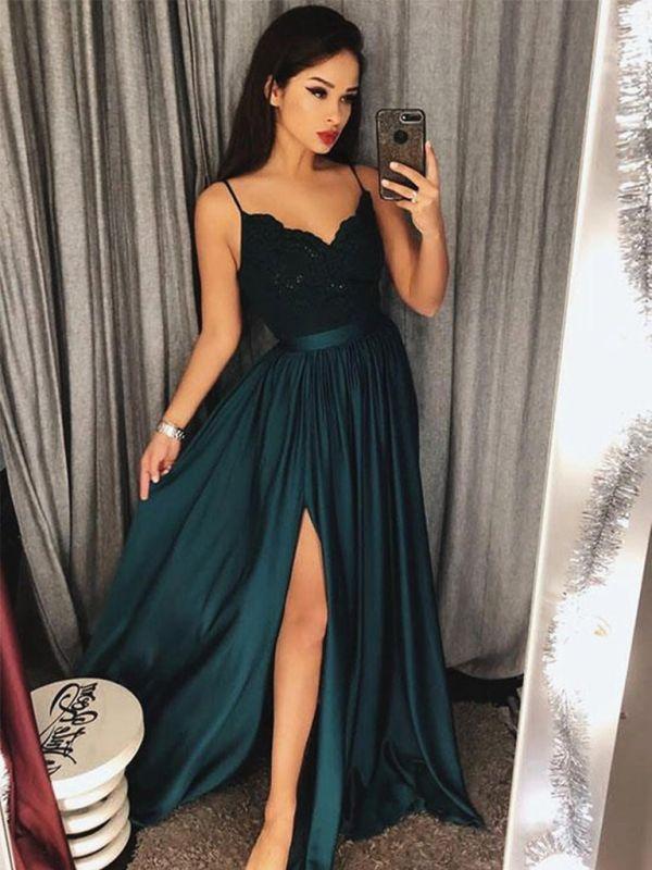 Modern Spaghetti Strap Lace Chiffon Prom Dress   Front Split Prom Dress BA8323