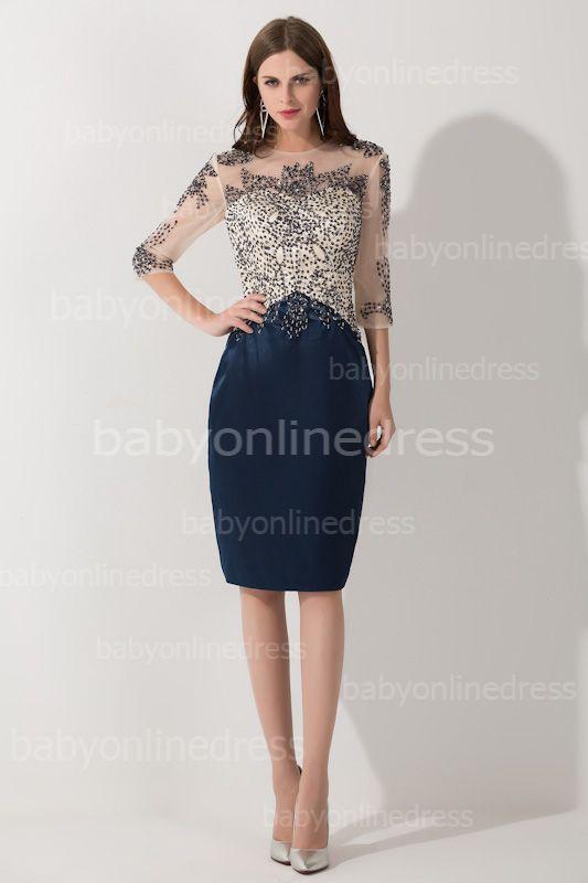 bd469b3a03 Half Sleeves Scoop Elegant Short Prom Dress With Beadings  Item Code   D153793137690743