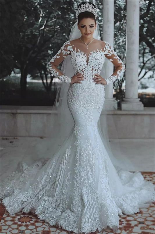 Luxury Beaded Mermaid Wedding Dresses with Sleeves | Illusion Tulle Lace Appliques Bridal Dresses