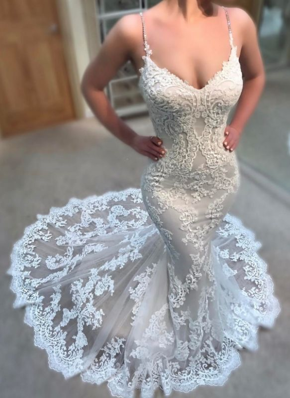 Sexy Lace Appliques Wedding Dresses Online   Spaghettis Straps Cheap Mermaid Bridal Gowns