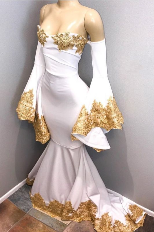 Off The Shoulder Long Sleeve Mermaid Gold Lace Prom Dresses Cheap BA8276