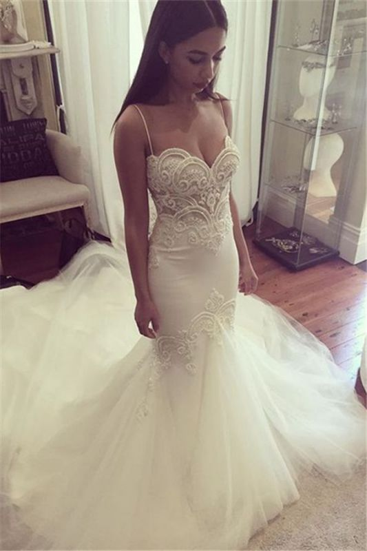Pretty Spaghetti Straps Sweetheart Wedding Dresses Cheap Summer Close-fitting Tulle Bridal Gowns