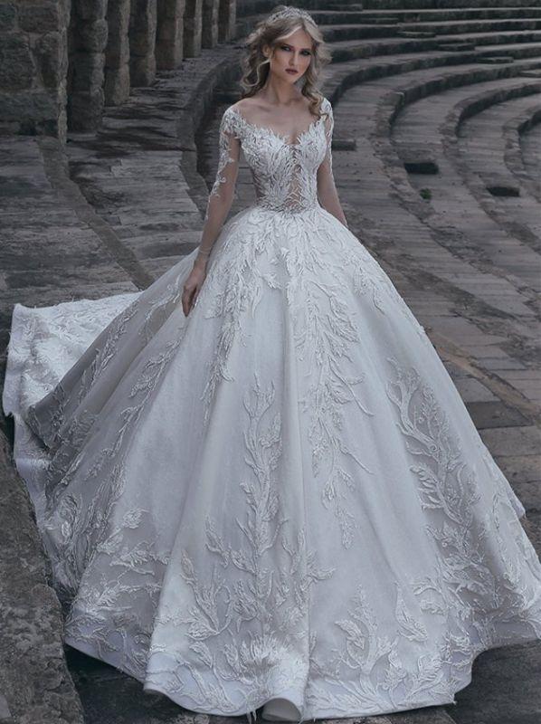 Robes de mariée élégantes à manches longues | Robes de mariée sexy 2021 en dentelle