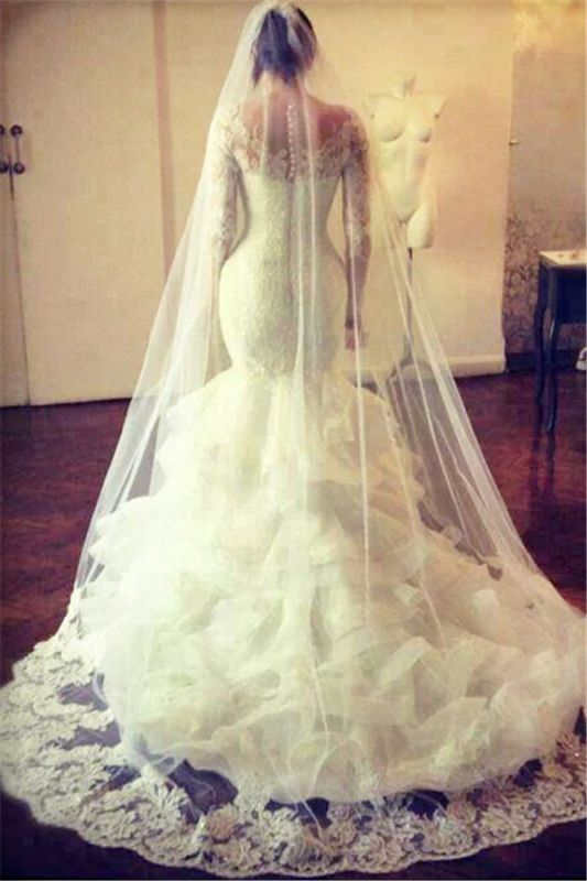 Gorgeous Wedding Dresses Cheap Lace Mermaid Long Sleeve Bridal Gowns with Wedding Veil