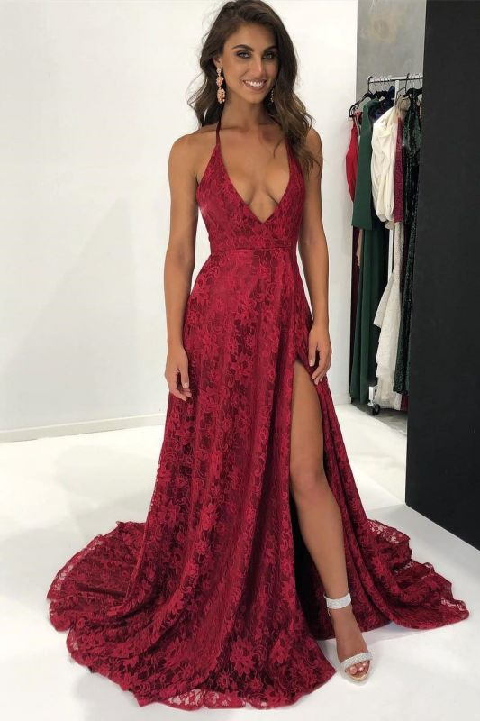 Modest Lace Red Spaghetti Strap Prom Dress | Front Split Formal Dress BA9243