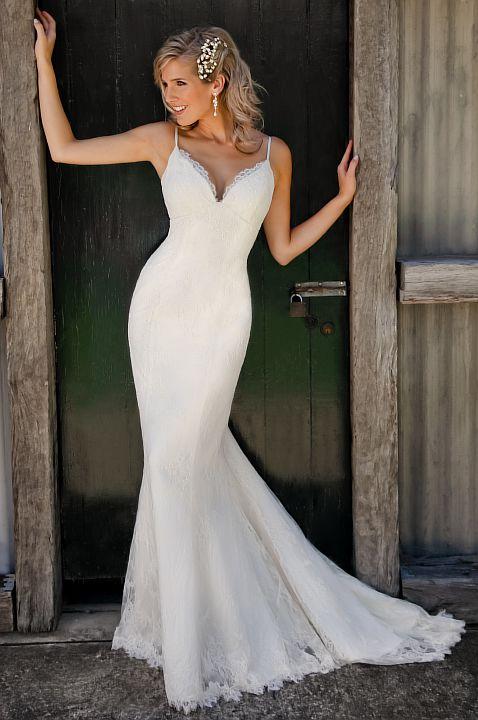 Sexy Mermaid Lace Wedding Dresses Spaghetti Strap Long Bridal Gowns