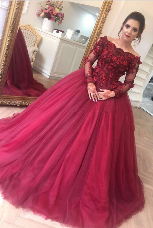 Modern Off-the-shoulder Long Sleeve Burgundy Ball Gown Evening Dress | Plus  Size Prom Dress