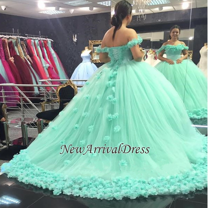 Mint-Green Off-The-Shoulder Ball-Gown Rose-Flowers Cloud Prom Dresses