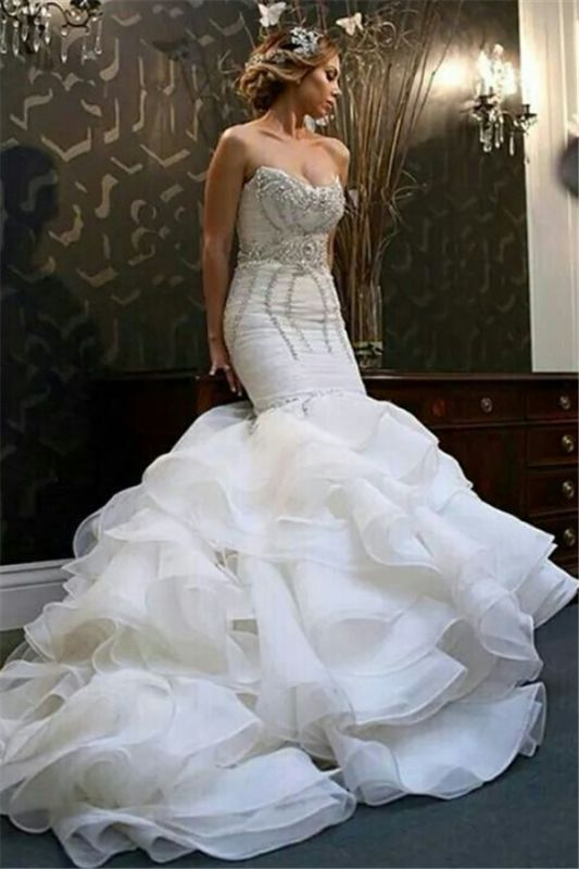 New Arrival Mermaid Sweetheart Wedding Dreses | Sexy Strapless Crystals Ruffles Bridal Gowns