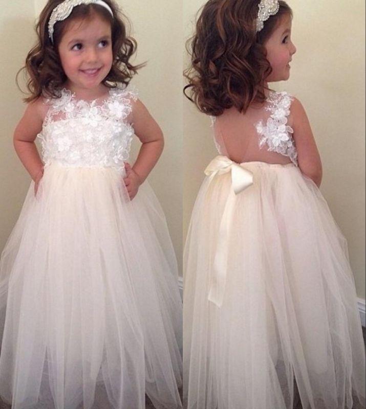 Bowknot Cute A-line Floral-Appliques Floor-Length Flower-Girl-Dresses