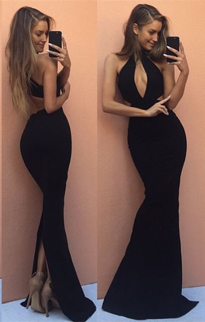 Sexy Black Mermaid Prom Dresses Keyhole Open Back Long Formal Gowns BA7526