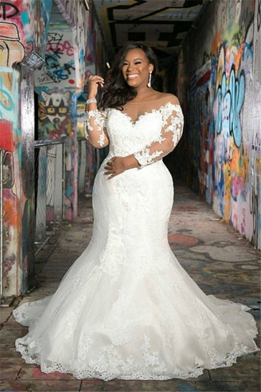 Off The Shoulder Plus Size Appliques Wedding Dresses | Sheer Tulle Cheap Memaid Bridal Gowns