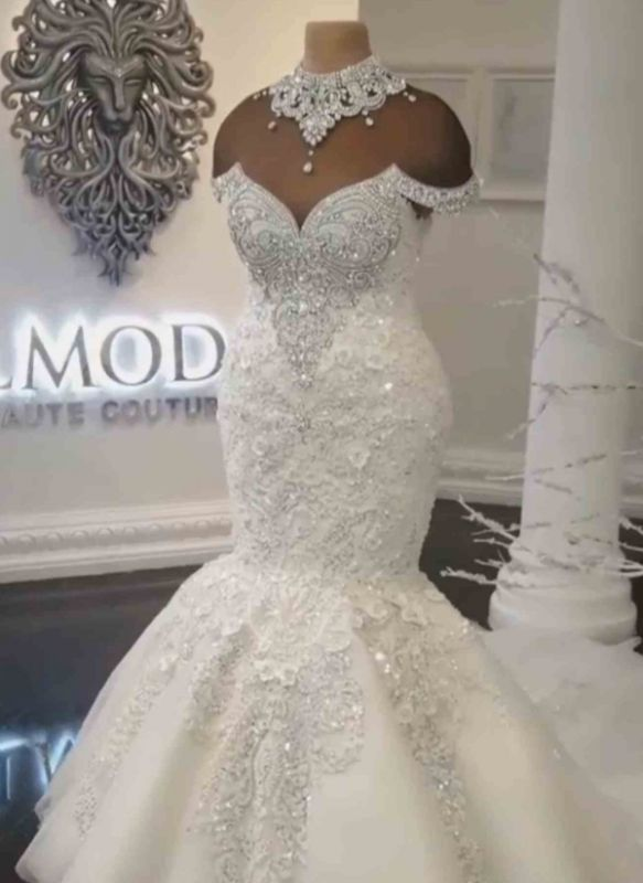 Luxury Crystals Mermaid Wedding Dresses | Sexy Off The Shoulder Lace Appliques Bridal Gowns