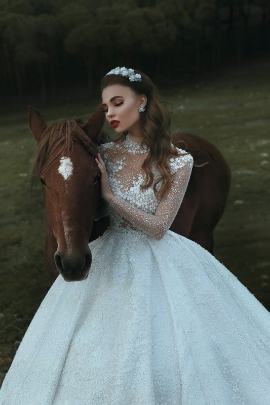 High Neck Appliques Sparkly Beads Sequins Wedding Dresses 2019 | Long Sleeve Princess Ball Gown Bridal Dresses Luxury