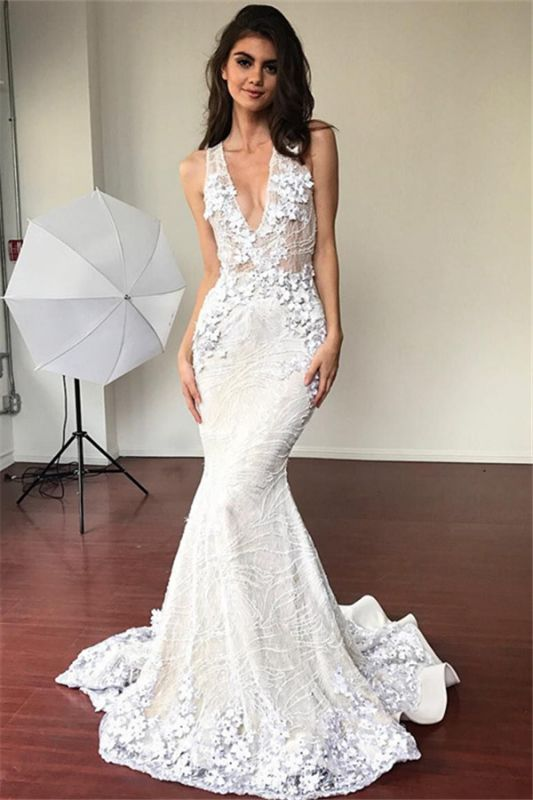 Sexy Mermaid V-neck Sleeveless Wedding Dresses | Elegant Lace Flowers Bridal Gowns 2021