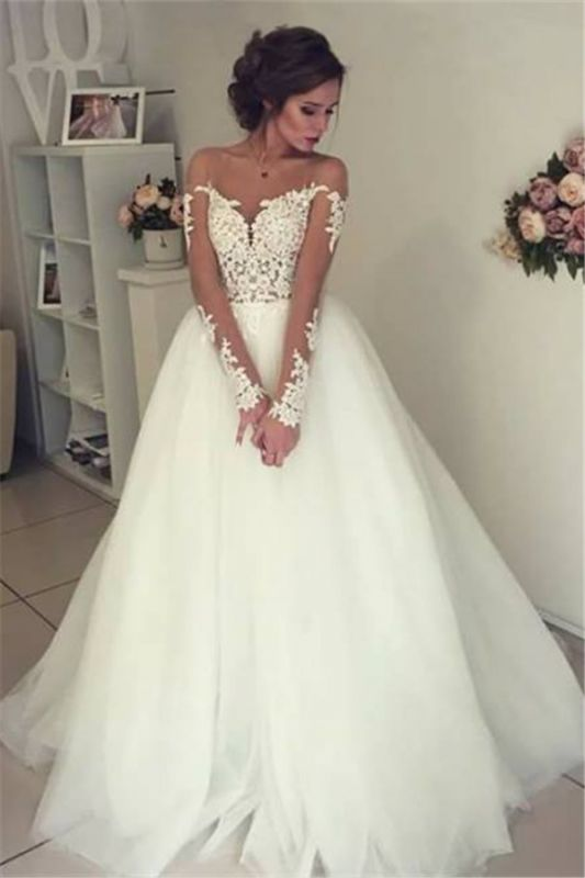 Sheer Long Sleeve Lace Wedding Dresses Open Back Tulle Ball Gown Bridal Dress