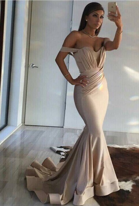 Off The Shoulder Long Formal Dress Cheap | Sheath Long Prom Dresses Sexy Online CE0094