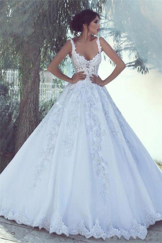 Träger Perlen Applikationen Ballkleid Brautkleider | Sexy ärmellose günstige Brautkleider 2021