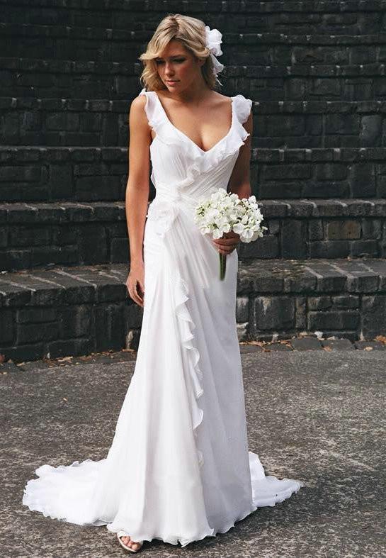 Stunning Backless Chiffon Wedding Dresses | Summer Beach Ruffles Sleeveless Bridal Gowns