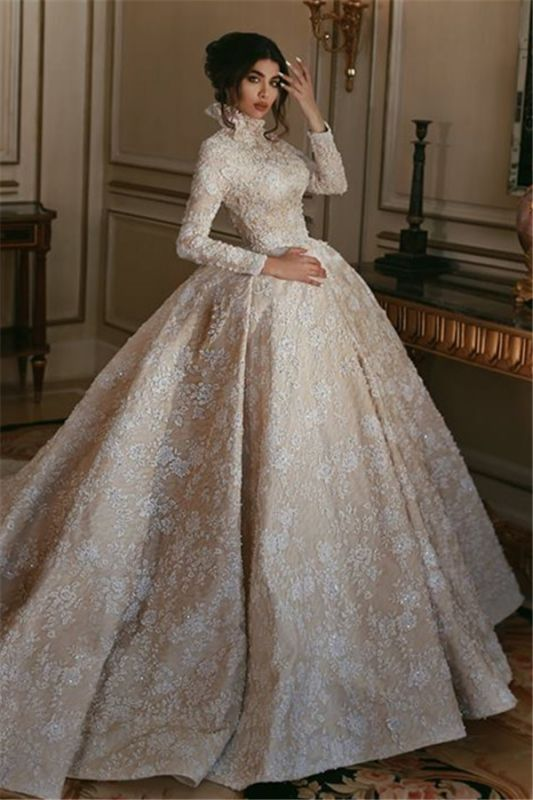 Vintage Lace Long Sleeves Wedding Dresses | 2019 High Neck Glamorous Bridal Ball Gowns