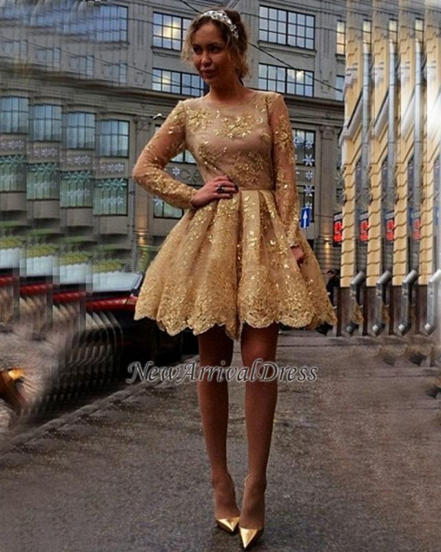 Appliques Long-Sleeves Sheer Short Gorgeous Gold Homecoming Dresses