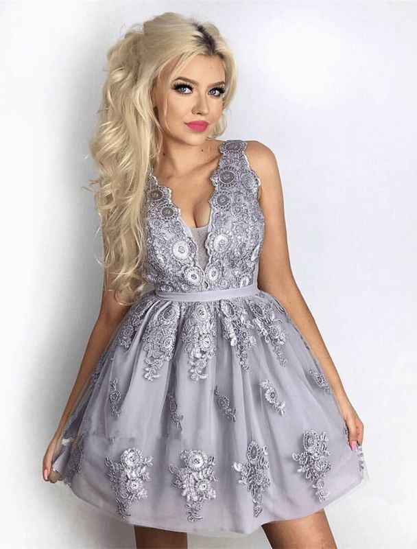 Delicate Lace Appliques V-neck Homecoming Dress   Short Party Gown