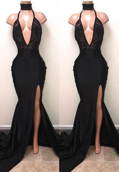 Black High Neck Lace Front Split Mermaid Prom Dresses Cheap BA8440