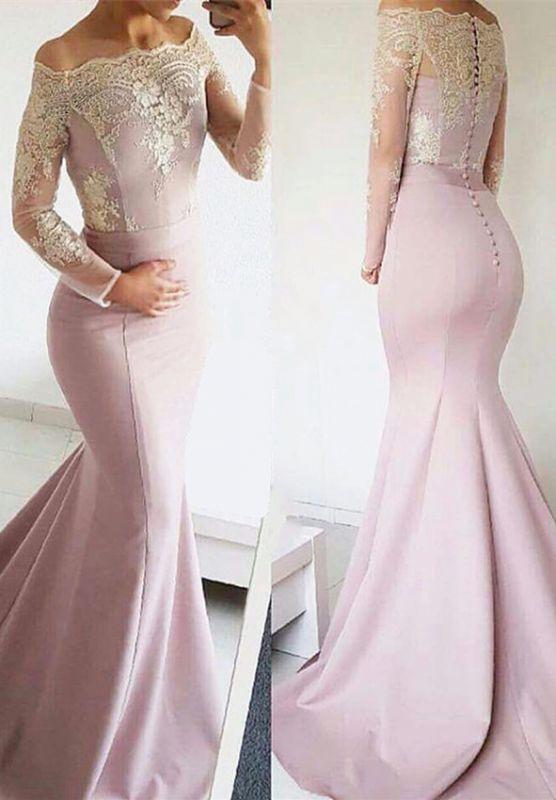 Cute Lace Long Sleeve Off Shoulder Mermaid Sweep Train Prom Dress BA8277