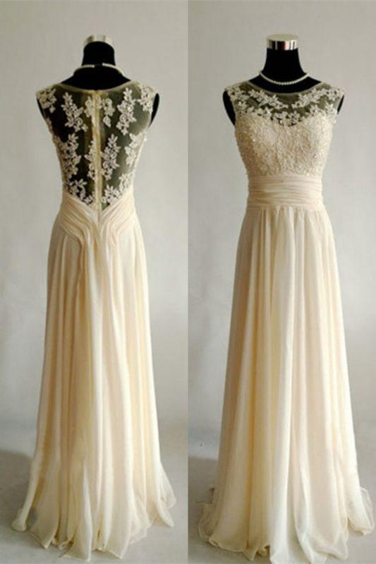 Bateau Chiffon A-Line Bridesmaid DressesAppliques Floor Length Evening Dresses
