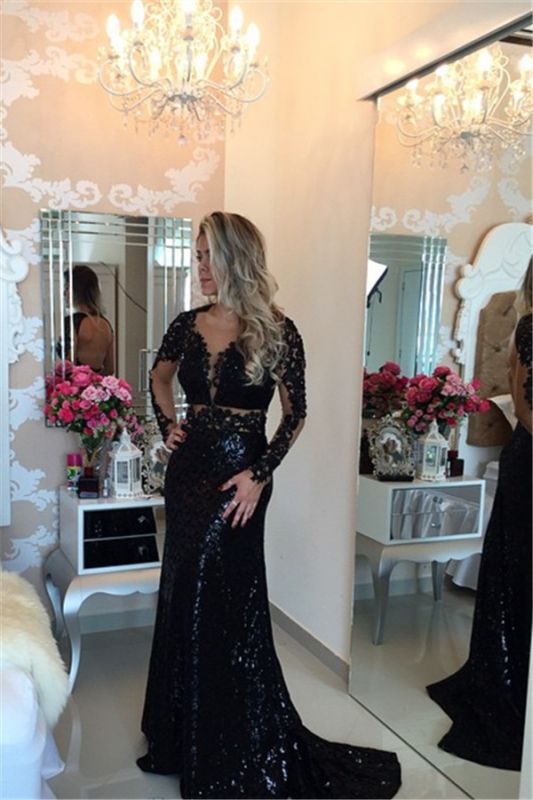 Black Long Sleeves Sequined Prom DressesLace Appliques Evening Gowns BT00