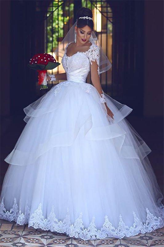 Lace Tulle Puffy Brautkleider mit langen Ärmeln 2021 | Sheer Tüll Günstige Ballkleid Brautkleider