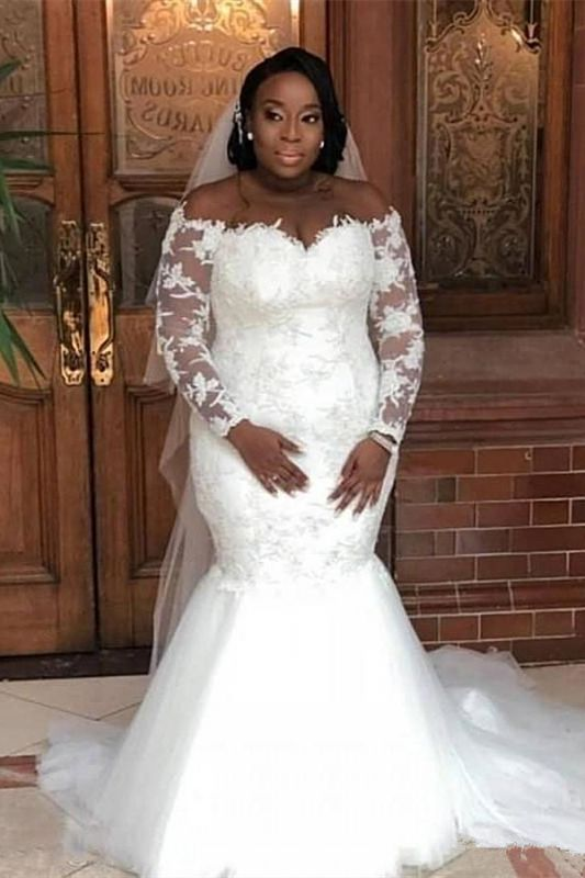 Plus Size Mermaid Appliques Wedding Dresses | Long Sleeve Off The Shoulder Bridal Gowns