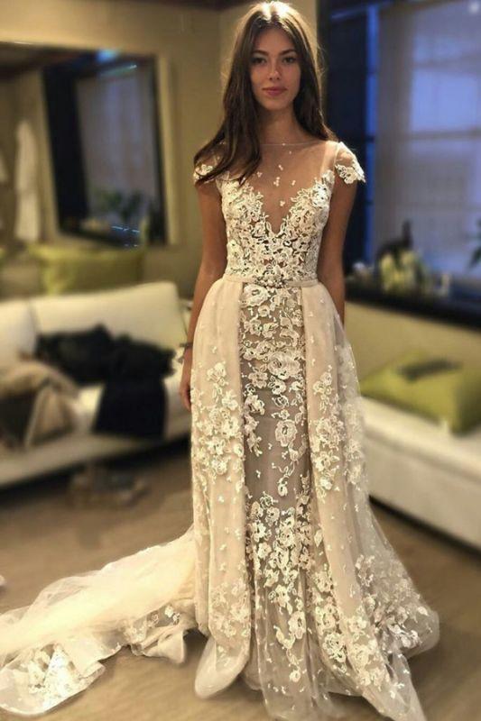 Delicate Short Sleeve Elegant Lace Appliques A-line Wedding Dress Cheap