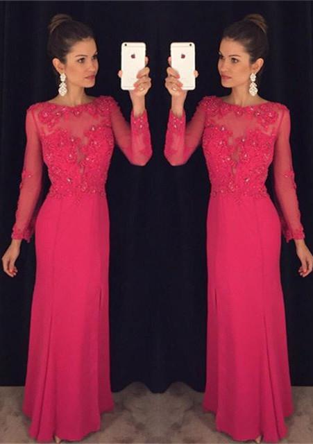 Elegant Long Sleeve Red Chiffon Prom DressLace Appliques Sequins AP0