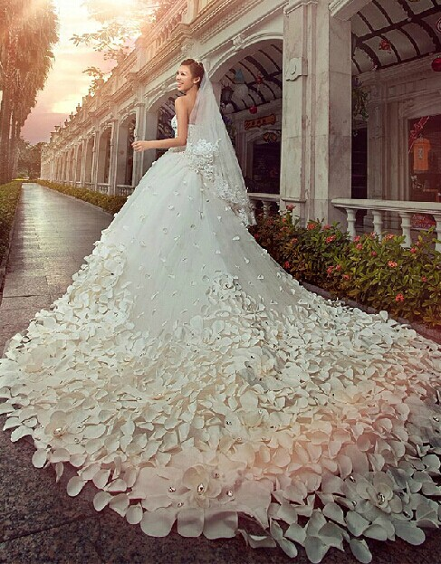 e754e5e57e Gorgeous Wedding Dresses Sweetheart Crystals Cathedral Train Flowers  Elegant Romantic Sleeveless Ball Gowns  Item Code  D153431177795685