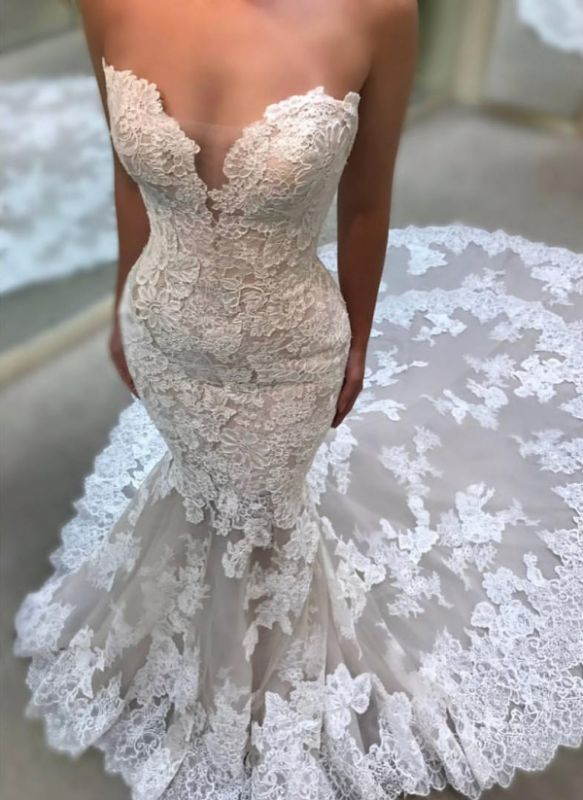 Sexy Sweetheart Wedding Dresses Cheap Online | Lace Appliques Sleeveless Bridal Gowns