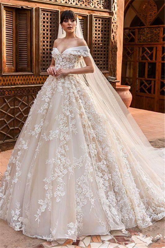 Elegant Off Shoulder Tulle Wedding Dresses 2019 | Puffy 3d-Flowers Bridal Gowns