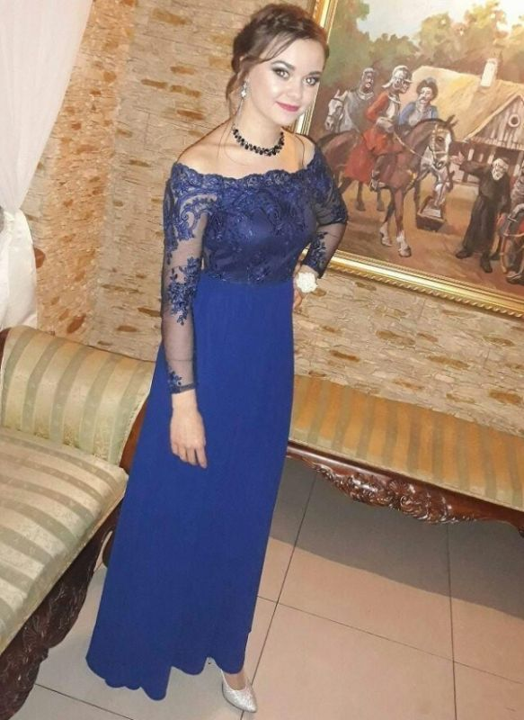 Royal-Blue Long-Sleeves Prom Dresses   Delicate Evening Gown