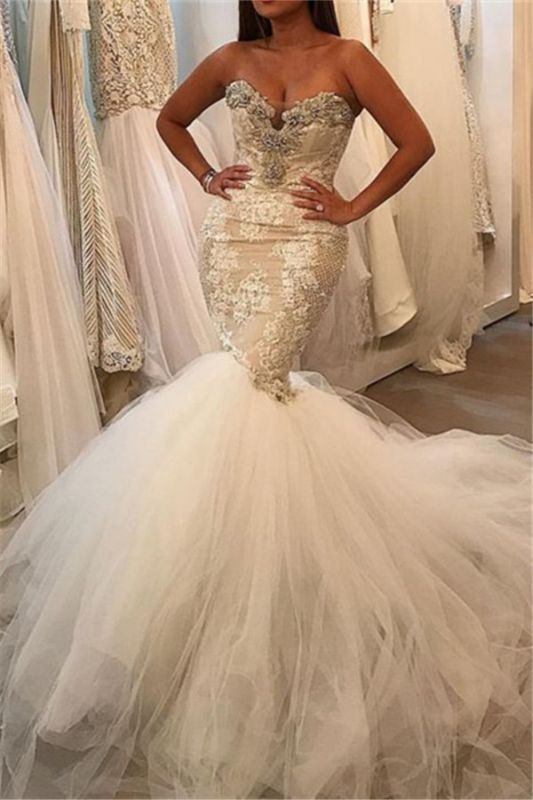 Glamorous Mermaid Tulle Sexy Wedding Dresses | Lace Sweetheart Crystal Bridal Gowns 2021